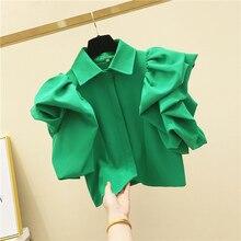 Summer 2020 new retro cotton blouse slim short design solid color green ruffles tops high fashion petal sleeve tops female