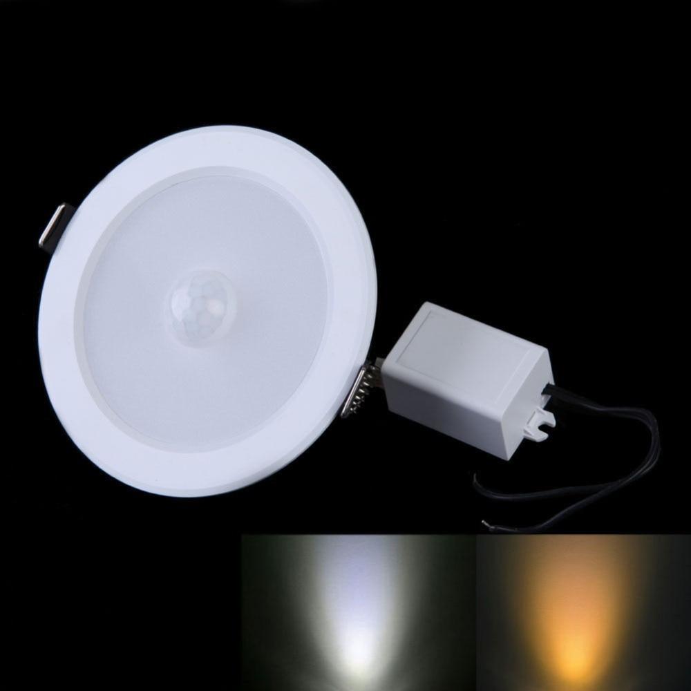 2 قطعة LED ضوء السقف إضاءة هابطة متراجع 9 واط PIR مستشعر حركة بالأشعة تحت الحمراء سطح شنت ل ممر مسار AC85-265V