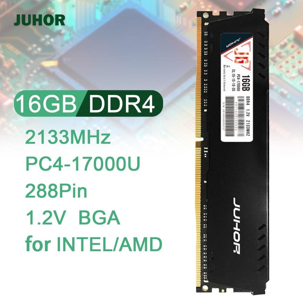 JUHOR ذاكرة 16G DDR4 2133MHz 288Pin 1.2V ذاكرة رام للكمبيوتر عالية السرعة قراءة/كتابة ذاكرة عشوائيّة للحاسوب المكتبي مع بالوعة حرارية لـ AMD/INTEL
