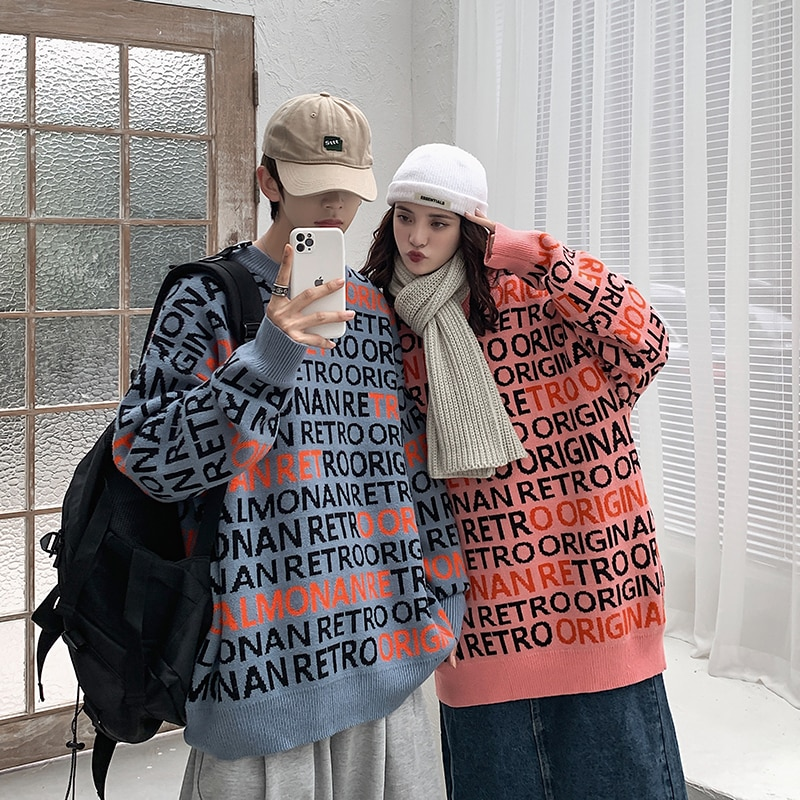 Letter Graphic Sweater for Couples Clothes Mens Loose Hip Hop Pullover Tops Korean Fashion Trends streetwear Vintage Knit Jumper