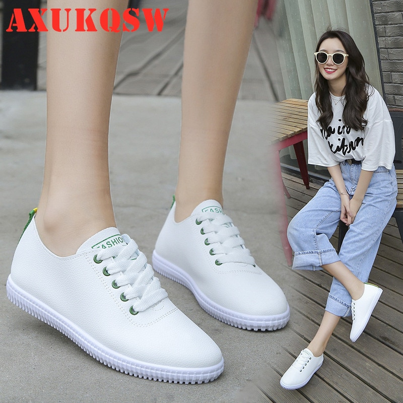 Women Sneakers White Flat Shoes Lace Up Round Toe Casual Women Shoes Fashion Breathable Women Shoes 35-40 Student running shoes fashion women men laser bling dad running sneakers female casual shoes male flat platform women sneakers round toe feminino