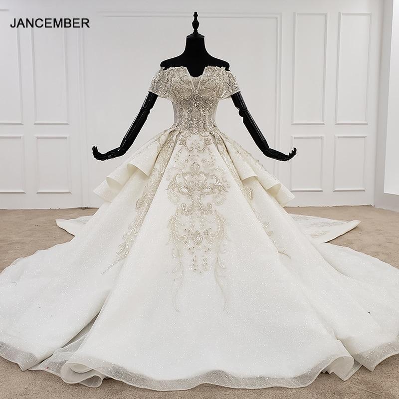 HTL1119 luxury wedding dress  off shoulder special neck bead detachable 2021 new fashion design hot weeding dress