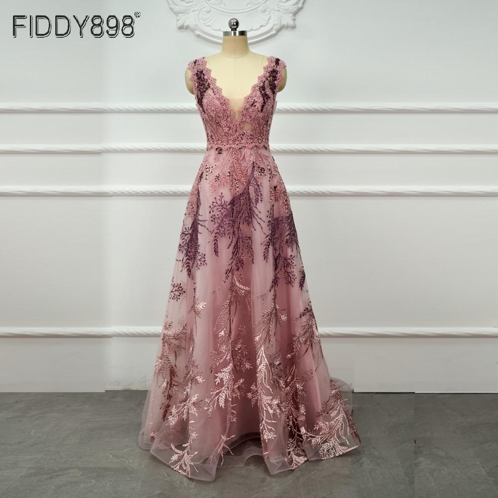 فستان سهرة من Vestidos Formales على شكل حرف v من الدانتيل بطول الأرض طويل للنساء فساتين رسمية مطرزة بتصميم شفاف لحفلات السهرة