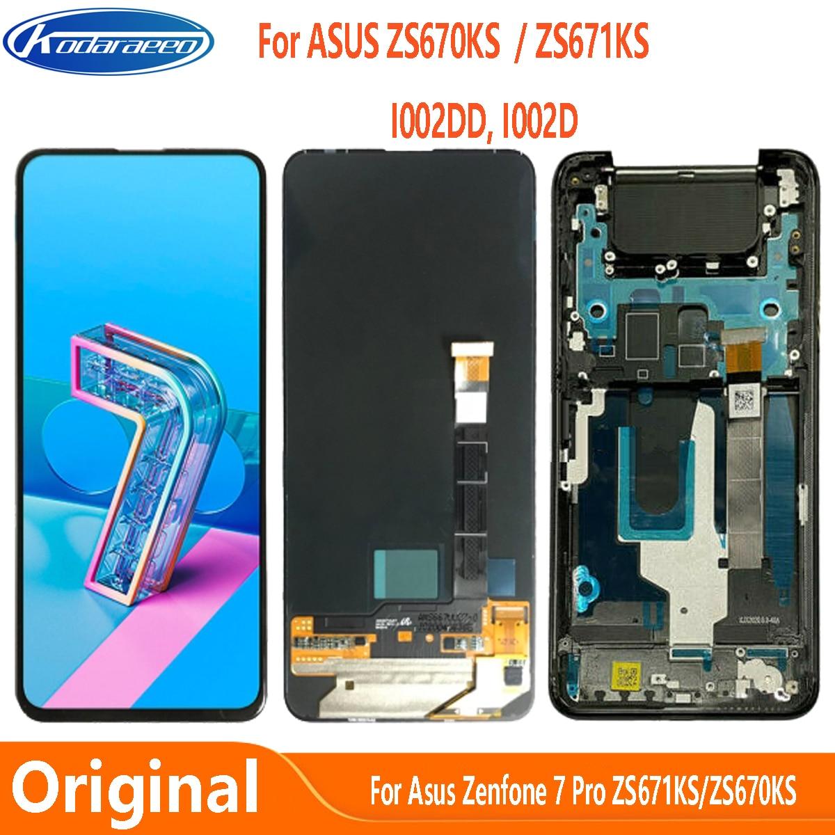 Super AMOLED For Asus Zenfone 7 Pro ZS671KS I002DD LCD Display Touch Screen Digitizer Zenfone 7 ZS670KS I002D LCD Display