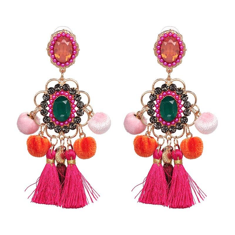 Nuevos pendientes de estilo nacional de estilo ruso populares en Europa y América con accesorios de pendientes de diamantes de imitación