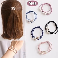 5pcsset high elastic hair bands solid pearl stretch hair ties for women girls ponytail holder hair ropes hair accessories