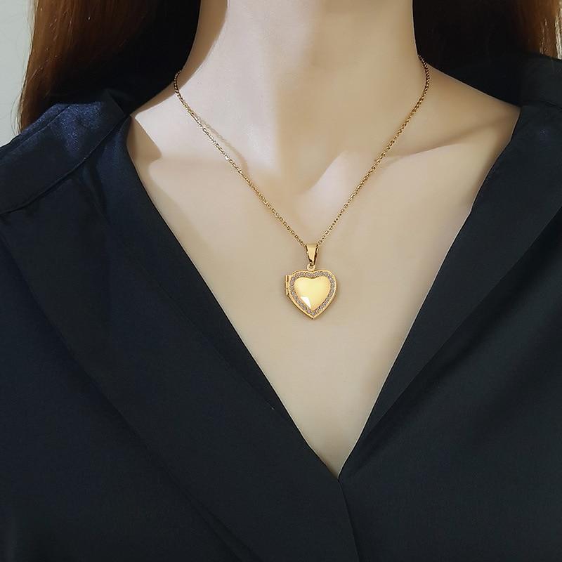 Индивидуальное ожерелье с фото, кулон в виде сердца, ожерелья с именем, женское семейное фото, персонализированные подарки на годовщину оже...