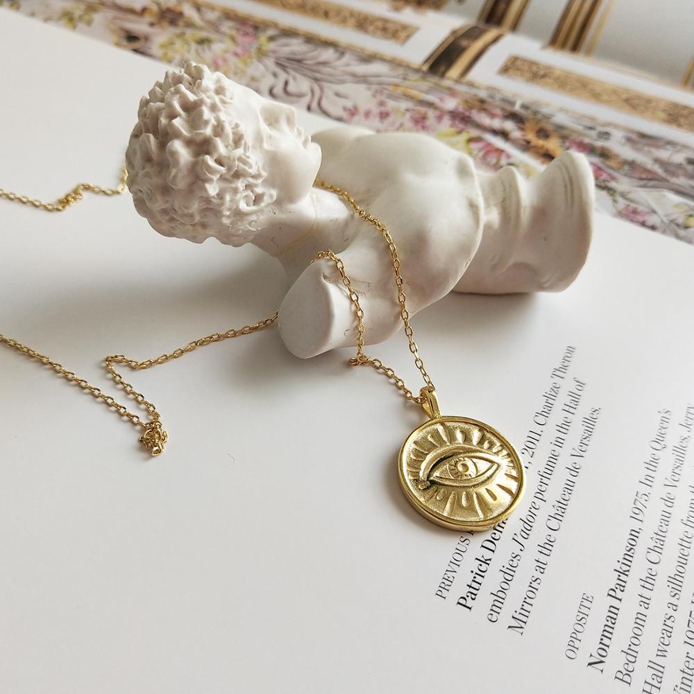 Collar con colgante de ojo malvado turco de oro de Plata de Ley 925 auténtica para mujer moneda redonda creativa TLX468