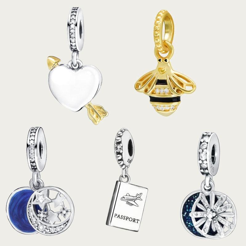 925 Sterling Silver 7 Types Plane Love Heart  Blue Sky Pendent Beads charms fit Original Pandora Bracelets Women DIY Jewelry