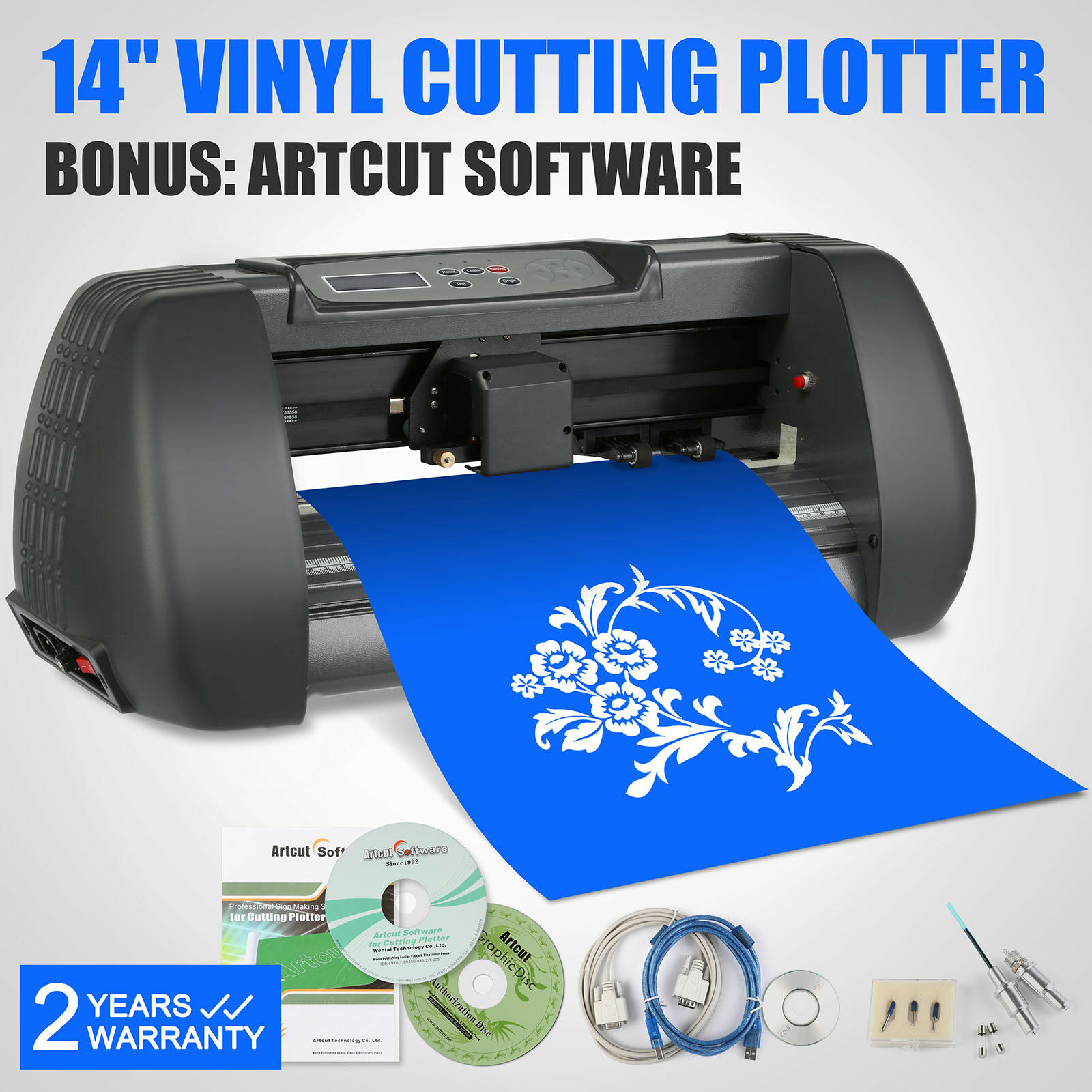 Automatic Vinyl Cutting Plotter 14 Inch 375MM cutter plotter USB Port 3 Blade Cutter enlarge