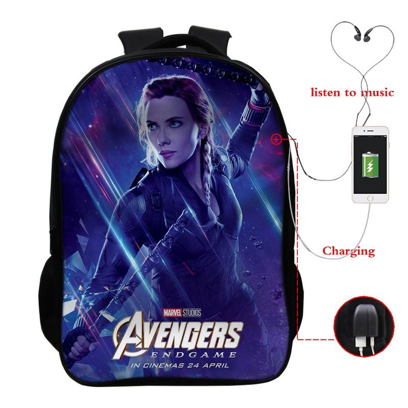 Avengers Infinity War Backpack USB Charge Thanos Printing Cartoon Children School Bags Boys Teenage Mochila