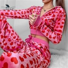 Vintage Fashion Heart Printed Pink Hoodies Women 2021 Zipper Up Cropped Sweatshirts Autumn Jacket Co