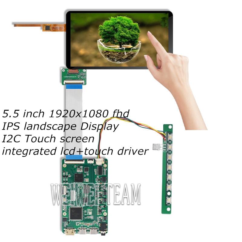 Pantalla Lcd de 5,5 pulgadas FHD 1920x1080 1080p + Sensor de panel táctil Placa de Control HDMI MIPI tipo c altavoz incorporado pantalla de Audio IPS
