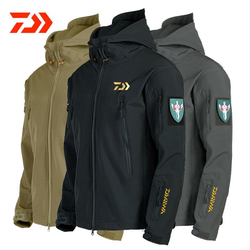 Daiwa Fishing Jackets Men Warm Thick Fleece Fishing Clothes Zipper Fishing Shirt Outerwear Man Daiwa Clothing for Winter Fishing