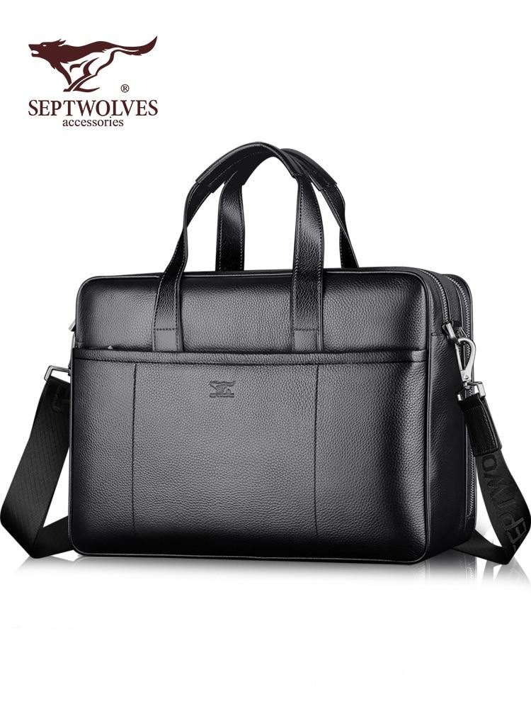 Handbag Men's Briefcase Leather Briefcase Men's Leather Bag First Layer Cowhide Horizontal Large Capacity Men's Bag