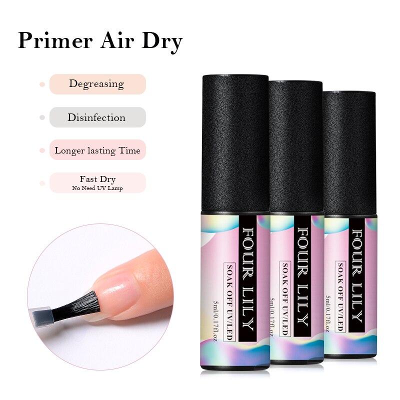 Cuatro lirio 5ml larga duración rápido secado al aire Primer UV LED Gel Base prebase para uñas adhesivos laca de esmalte en Gel DIY manicura diseño