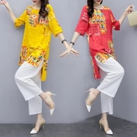 2021summer womens two piece printed set loose long shirt tops and white cropped trousers casual large size wide leg pants suit