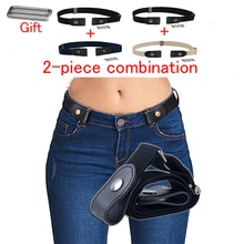 40 styles without buckle belts 2 pairs of jeans for women/men without buckle elastic band without bulge trouble belt