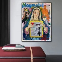 graffiti art love ball van virgin mary painting on canvas print poster wall picture for living room home decoration frameless