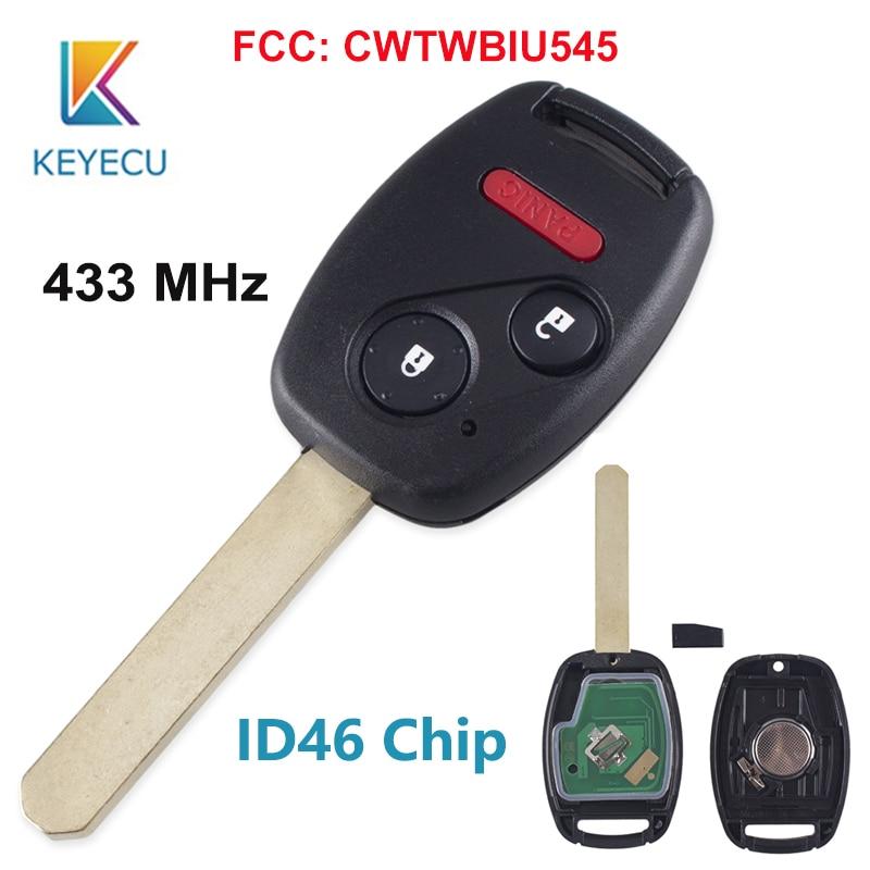 KEYECU para Honda piloto 2005, 2006, 2007, 2008 ID46 Chip mando a distancia de coche 433Mhz 3 2 + 1 botones FCC CWTWBIU545