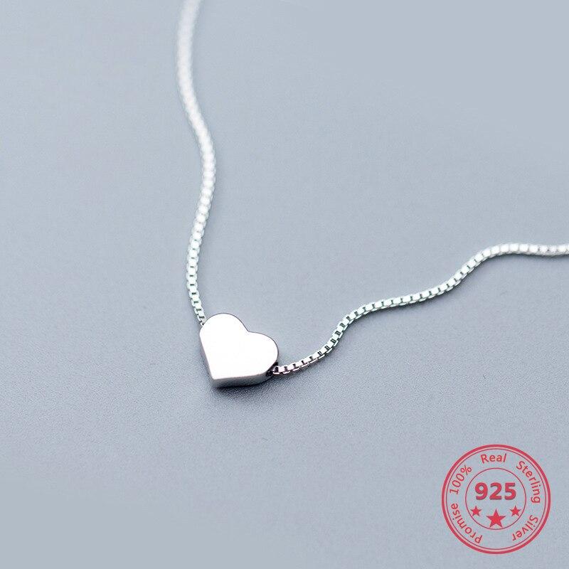Gran oferta, colgante de amor de Plata de Ley 925 con cadena de clavícula blanca, pequeño Estilo Dulce fresco, buen regalo para novia