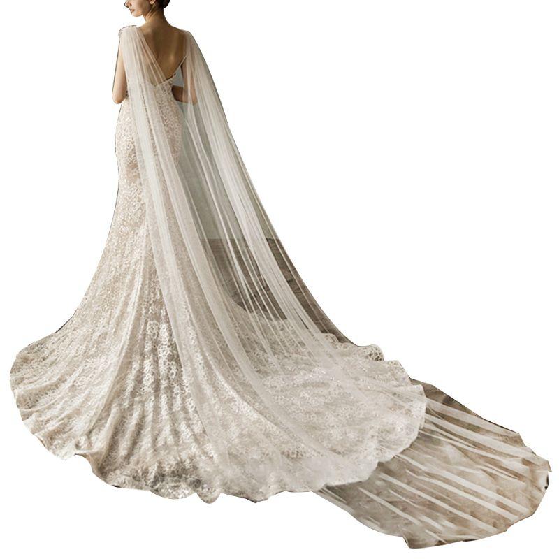 Mujeres tul Catedral largo hasta el suelo capas de boda hombro imitación de cristal joyería Floral Appliques nupcial pañoletas largas capa
