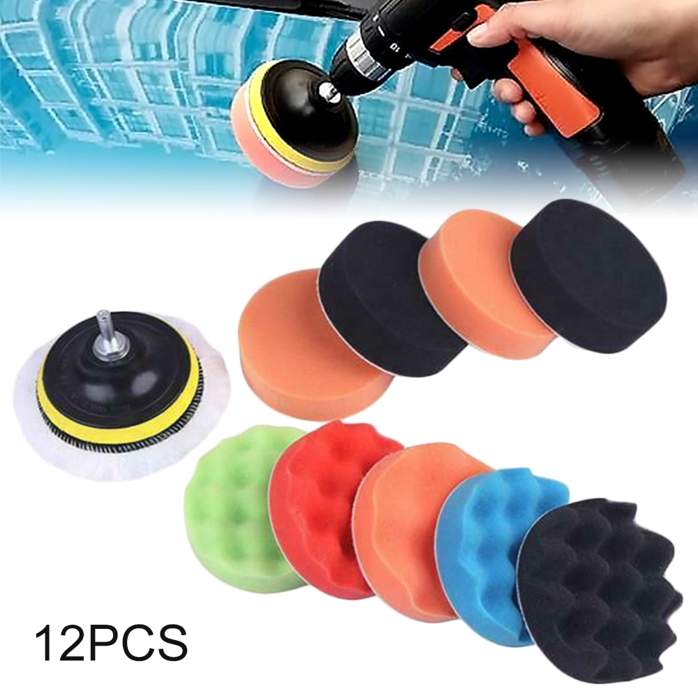 1Set 3 Inch Sponge Car Polisher Waxing Pads Buffing Kit for Boat Car Polish Buffer Drill Wheel Polishing Removes Scratches