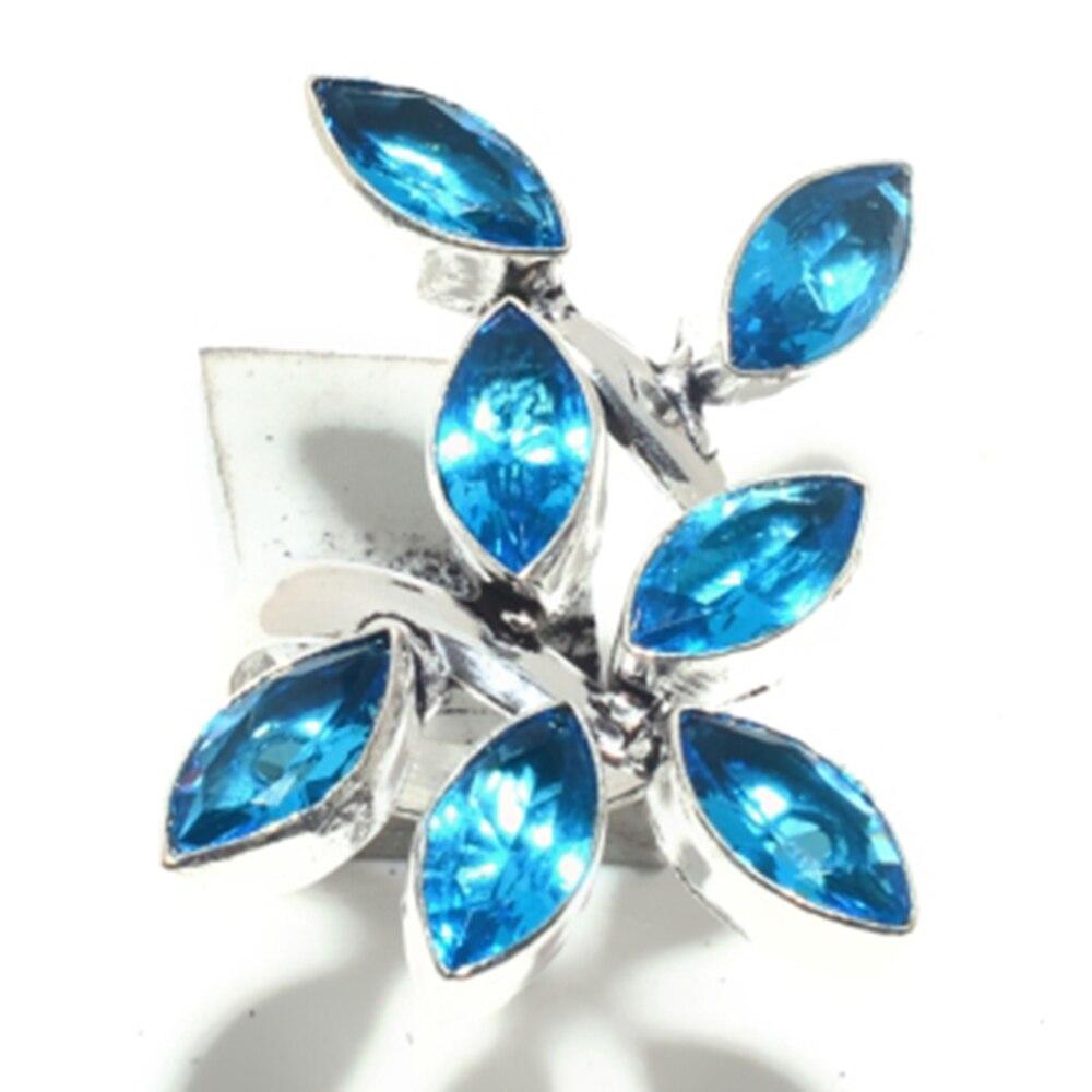 Anillo de Topacio Azul genuino, recubrimiento de plata sobre cobre, regalo de joyería hecho a mano para mujeres, tamaño 7,25