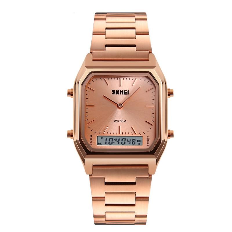 Fashion Business Waterproof Steel Band Electronic Watch Retro Double Show Sports Calendar Multi Function Simple Quartz Watch