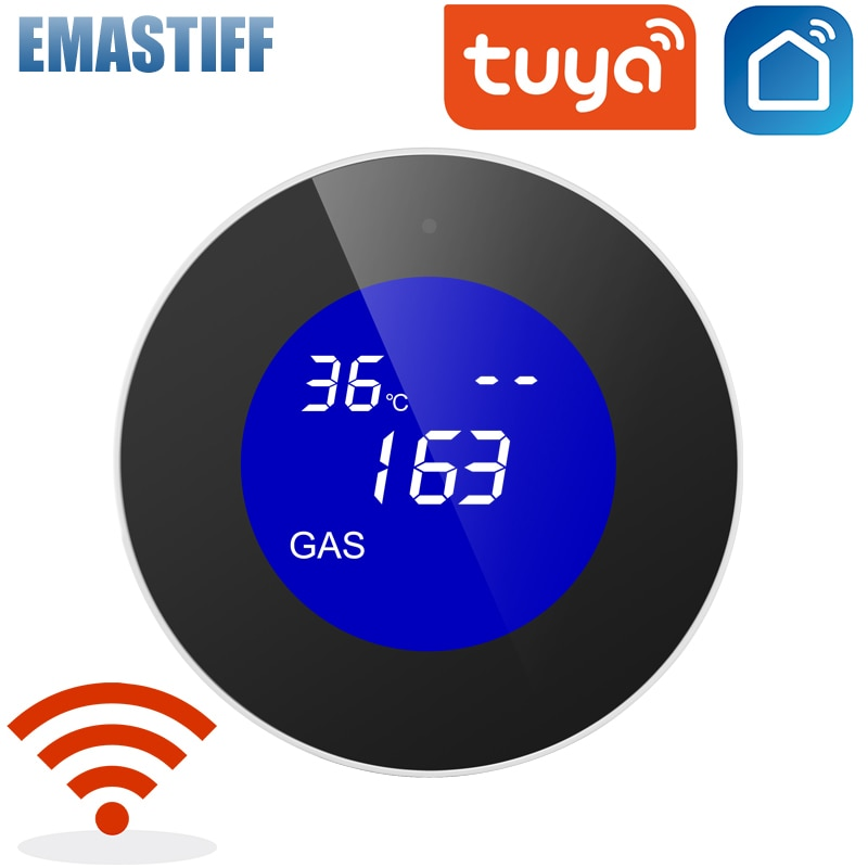 LCD display Tuya WiFi GAS LPG Leak Sensor alarm Fire Security detector APP Control home Safety smart Temperature monitoring