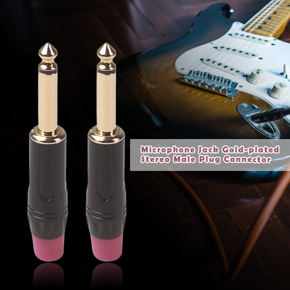 2 pces 6.35mm microfone jack banhado a ouro mono macho plug alto-falante fio de áudio conector de cabo de vídeo de áudio adaptador de travamento cabo