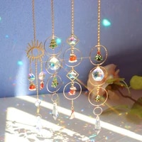 clear crystal pendant wind chime colorful life tree bead hanging drop chandelier outdoor garden room diy decorations car catcher