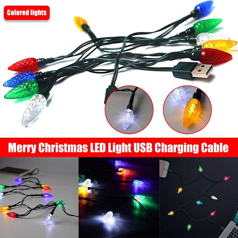 Novo natal led cabo de carregamento usb smartphone cabo com luzes led quarto decoração luzes da noite cabo de carregamento para o telefone