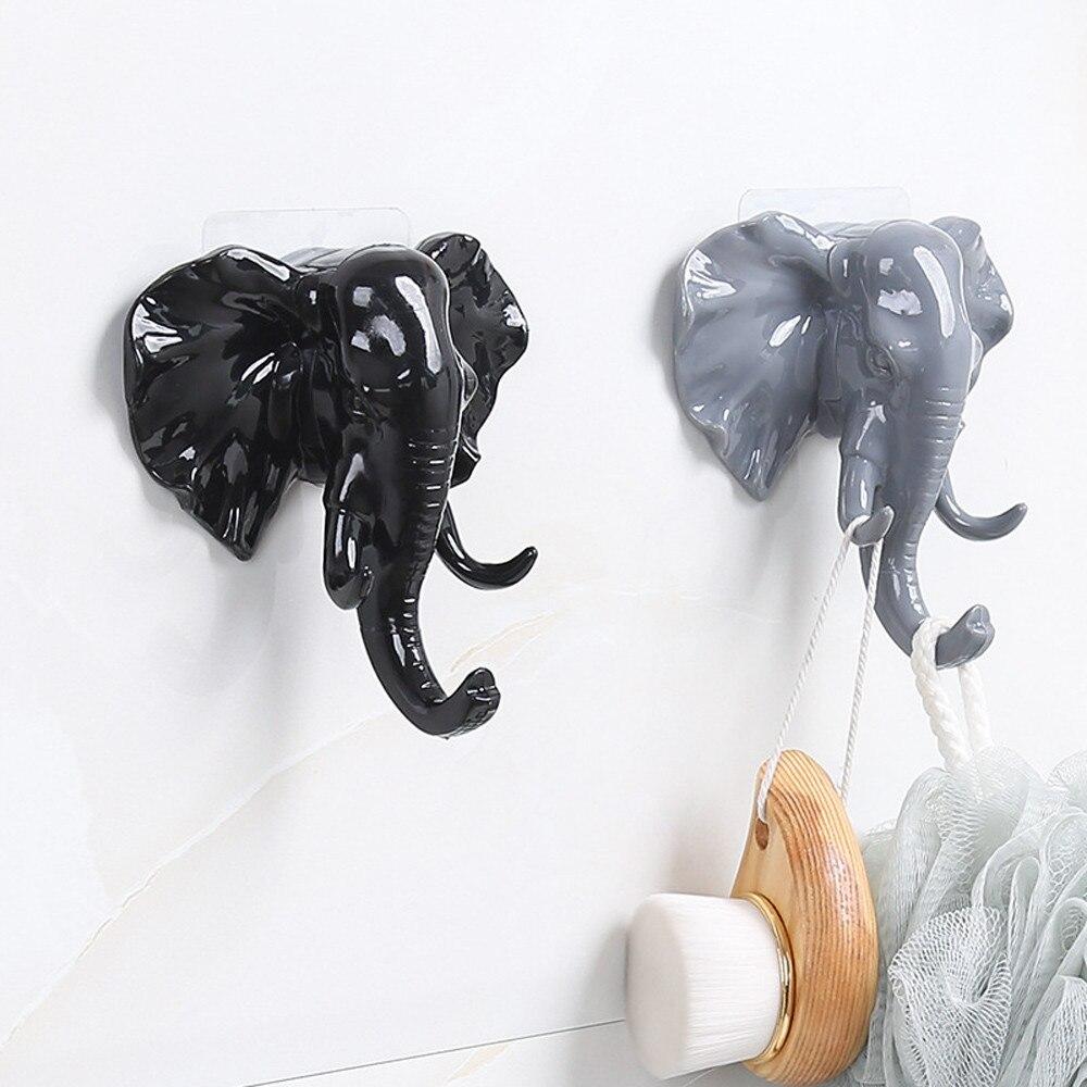Cabeza de elefante Animal pared puerta ropa gancho Indicador de estante almacenamiento colgador autoadhesivo bolsa llaves adhesivo titular decoración creativa