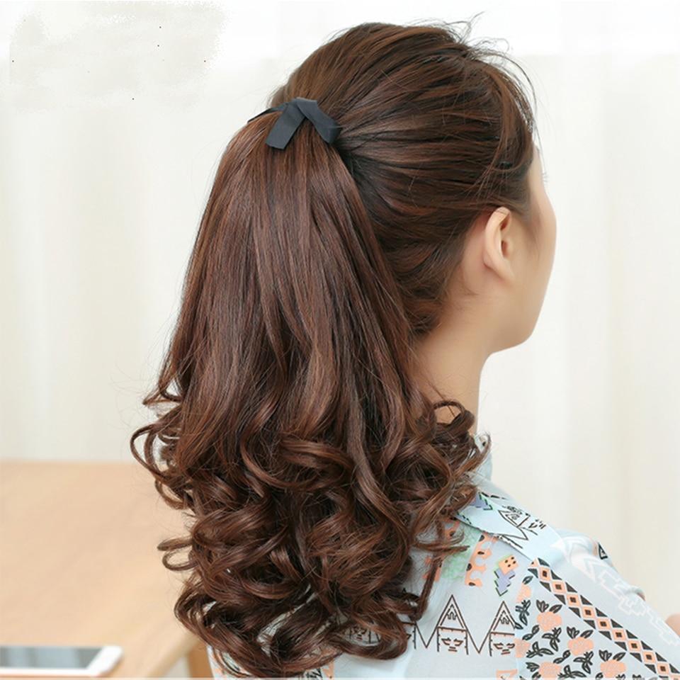 Волосы для наращивания Allaosify, черные/коричневые термостойкие синтетические волосы для наращивания с хвостиком и кулиской, 12 дюймов, волосы для наращивания