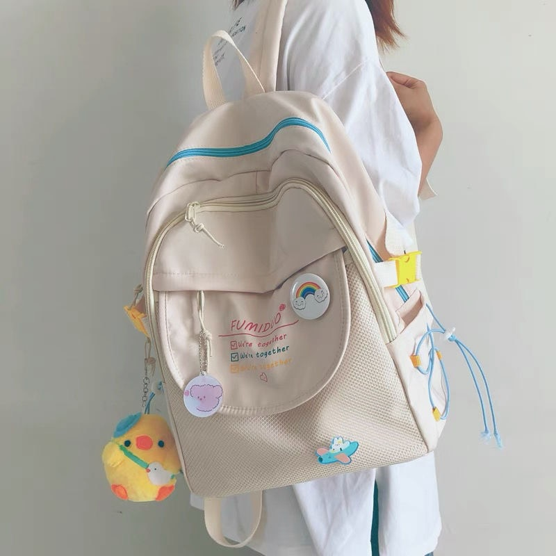 New Cute Contrast Color Girl Schoolbag Large Capacity Student Backpack Women's Travel Backpack Large Capacity Bag Nylon Bag недорого