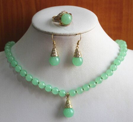 Women's semi-precious Natural 8MM jade Necklace earring ring(6/7/8/9) set