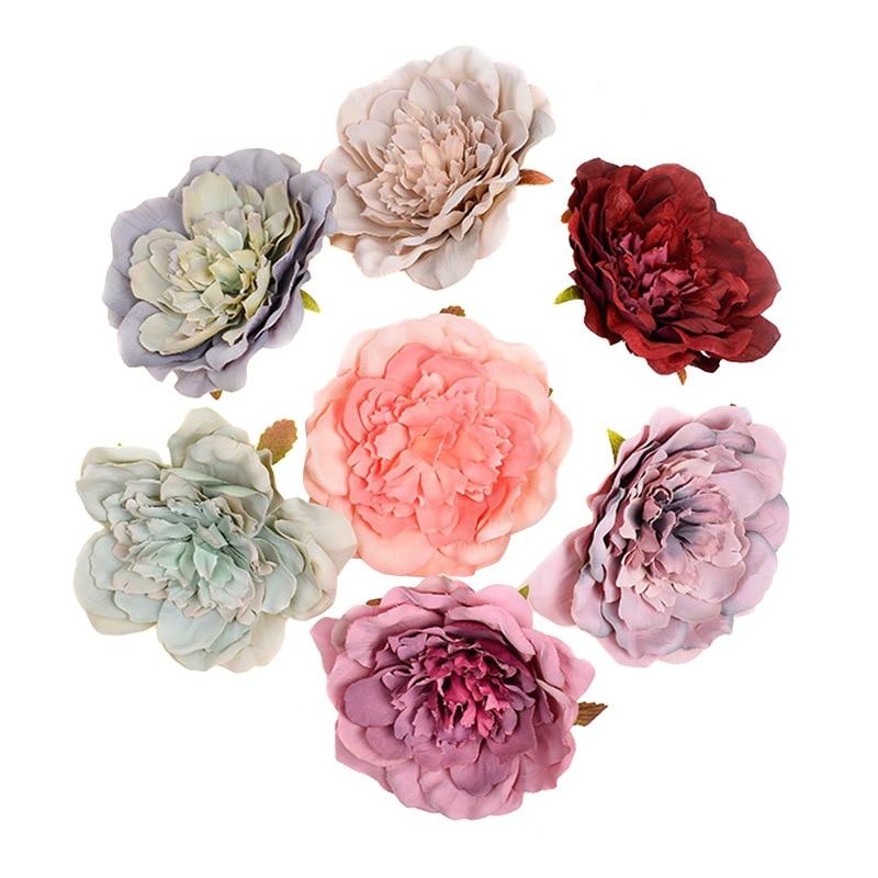 5 uds flor peonía Artificial cabezas realistas Flor de peonía falsa para la decoración del hogar de la boda suministros JS22