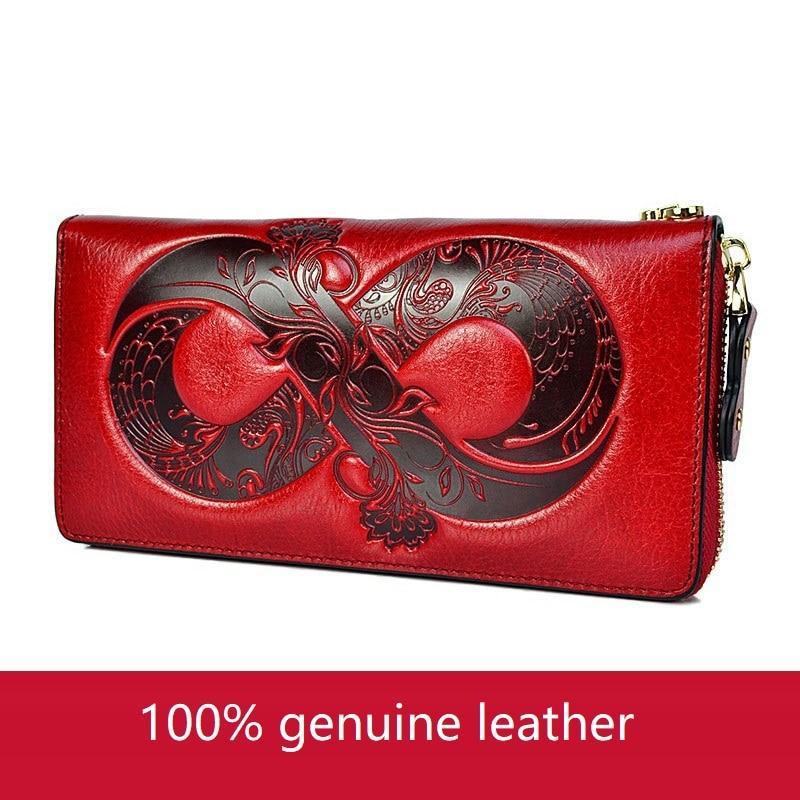 محفظة جلدية حقيقية النساء جلد طبيعي المرأة المحفظة طويلة سستة محفظة كبيرة المرأة الجلود المحافظ السيدات مخلب حقيبة المال
