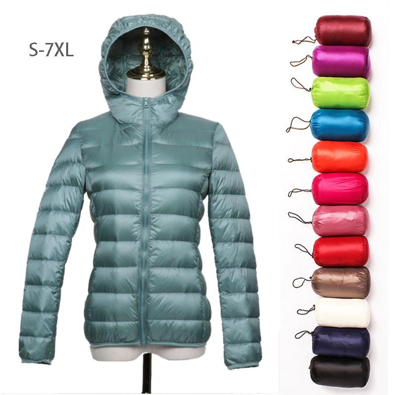 الشتاء المرأة أسفل السترات S-7XL الترا ضوء الأبيض بطة أسفل جاكيتات طويلة الأكمام معطف دافئ سترة الإناث المحمولة مقنعين أبلى