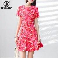 100 natural silk womens dress o neck short sleeves printed ruffles fashion casual summer dresses vestidos