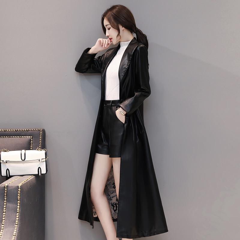 Autumn X-Long Leather Coat Women Plus Size 4XL Turn-down Collar Soft Faux Leather Jacket Fashion Slim Black Women Trench Coat enlarge