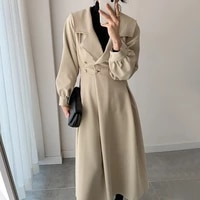 elegant vintage long apricot women trench coat autumn casual side button lapel long sleeve female windbreaker casacos feminino