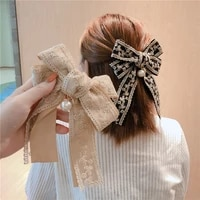 korean fabric big bow spring clip lady lace embroidery hair clip hairgrip holiday gifts women hair pins wedding hair accessories