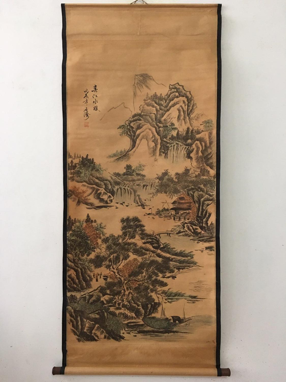 Pintura China antiguo Desplazamiento de celebridades paisaje pintura medio salón pinturas colgantes pinturas de pared shitao