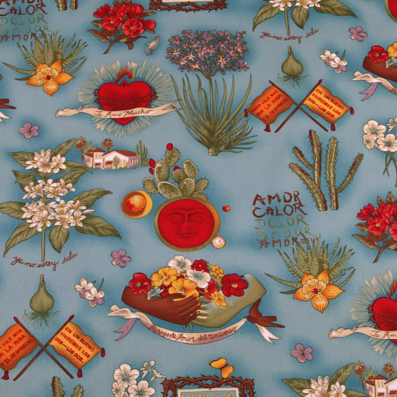 145cm de ancho Viva Lady Flowers dibujo con Cactus Stretch tela de algodón para niñas vestidos faldas Hometextile Cushion Cover DIY-BF145