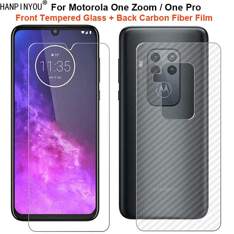 """Para Motorola One Zoom/Pro 6,39 """"1Set = espalda suave de fibra de carbono película + Ultra delgada de vidrio templado claro Protector de pantalla"""