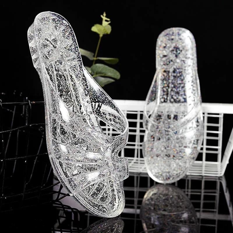 Сандалии-желе женские, прозрачные, сланцы, повседневная дешевая обувь для мам, модные мюли, лето 2021