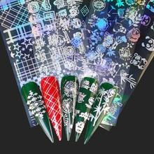 FWC holographique ongles feuille flamme pissenlit Panda bambou Nail Art transfert autocollant eau toboggan Art des ongles décalcomanies