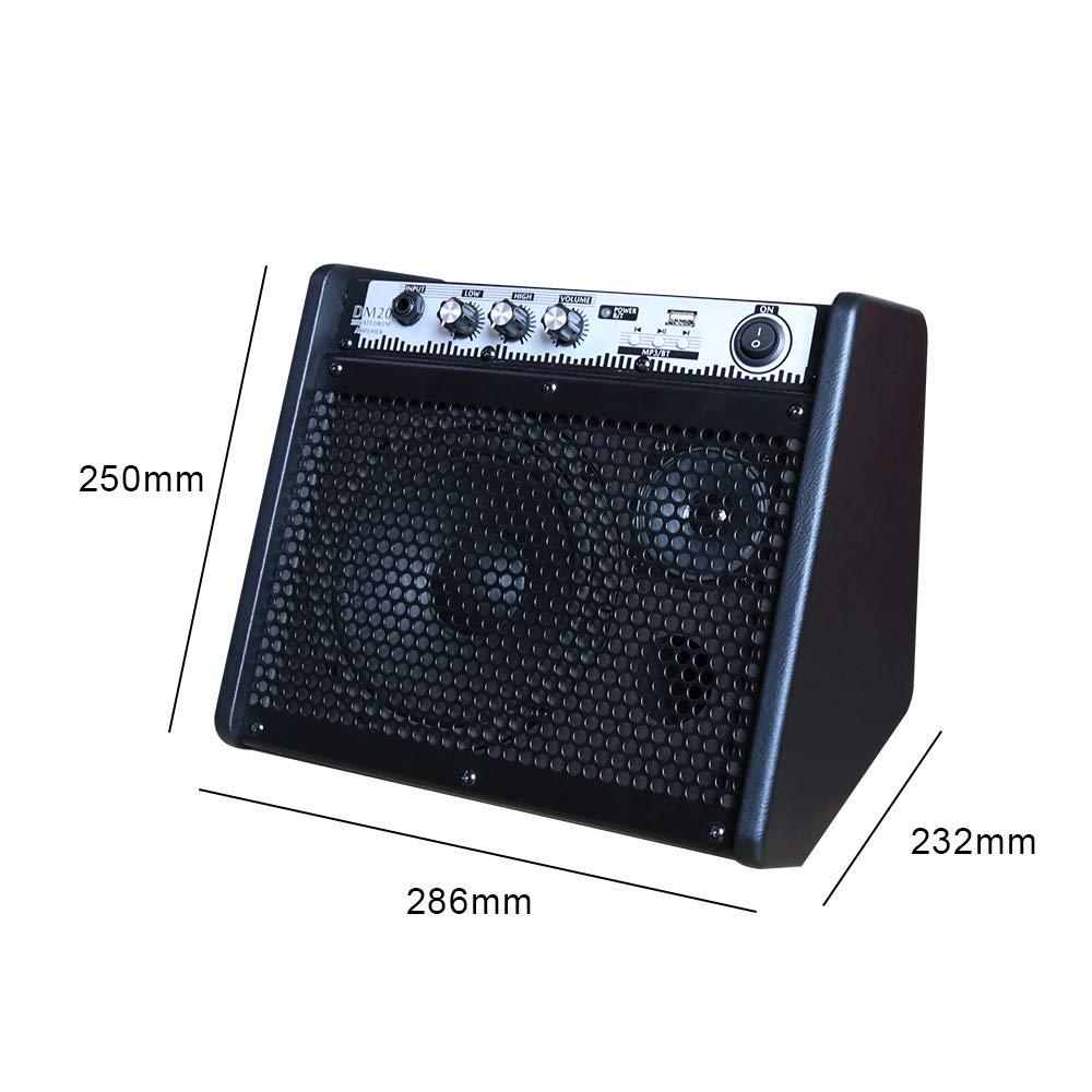 Professional Amplifier Speaker for Electronic Drum Set Coolmusic DM20 Drum Kit Keyboard Busking EQ Amp 6.5